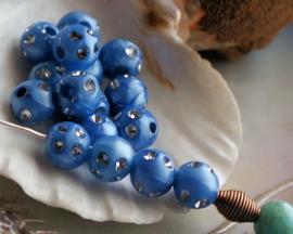 set/20 kralen kunststof: met Strass - Rond - 8 mm - Staal-Blauw met Lusterglans