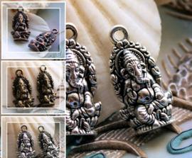 set/2 Bedels: Olifant-God GANESH - Ganesha - 27x14 mm - Antiek Zilver of Koper Kleur