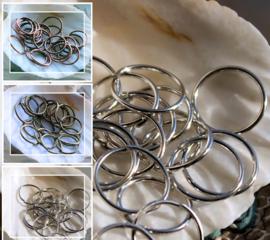 set/25 Buig-Ringetjes - 12 mm - Rood Koper of Antiek Koper of Zilver kleur