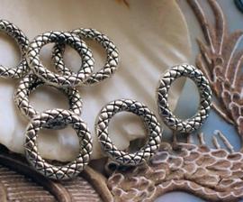 set/8 Hangers of Tussenstukjes: Ring Bali Decoratie - 13 mm - Antiek Zilver Kleur