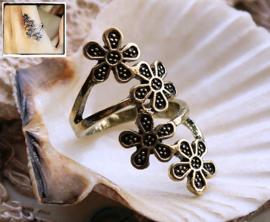 Ring: Bloemen - maat: 18 mm - Antiek Goud Kleur