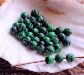 set/8 kralen: echt Malachiet - Rond - 4 mm - Groen