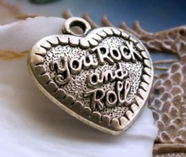 Hanger: Hart - You Rock and Roll - 31 mm - Antiek Zilver Kleur Metaal
