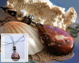 C&G Hanger aan veter: Prachtig echt Jaspis (47 mm) & Batik Bone