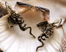 Paar Oorbellen: 3D Draak - Antiek Koper/Brons Kleur - 43 mm