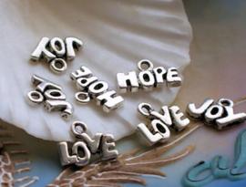 set/7 Bedels: Love Hope Joy - 12-14 mm - Antiek Zilver Kleur Metaal