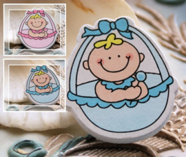 1 Cabochon/Scrapbook Figuur: Hout - Baby - 35 mm - Jongen/Meisje Blauw of Roze