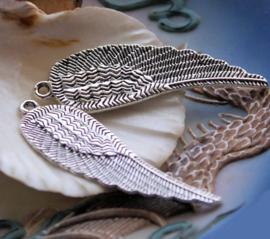 set/2 Hangers: Grote Engel of Elfen Vleugels - 52 mm - Antiek Zilver Kleur