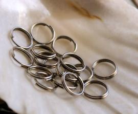 set/50 Split Ringetjes - 7 mm - Antiek Zilver/RVS Kleur