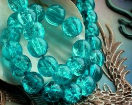 set/15 kralen: Crackle - Rond - 8 mm - Aqua Turquoise