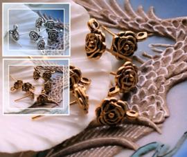 set/2 (= 1 paar) Oorbel Knop - Ear-stud - ROOS - Antiek Zilver of Goud Kleur