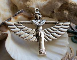 Hanger Egypte: Godin Isis - 41x56 mm - Antiek Zilver kleur