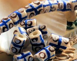 set/4 Krobo TRADE BEADS - Kralen uit Ghana - Glas - ca 11-12 mm - Wit Bruin Blauw
