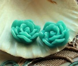 1 Cabochon van Kunststof: Roos - 17 mm - Aqua Blauw/Turquoise