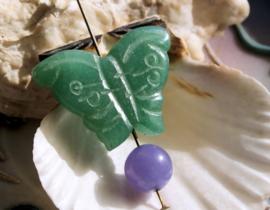 1 Hanger/Kraal: echt Groen Aventurijn - Vlinder - ca 33x25 mm