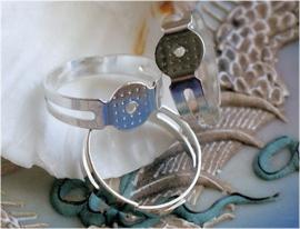 set/2 Ringen voor Cabochons - Plak Ringen - Verstelbaar - S. Zilver Kleur - 8 mm plakstuk