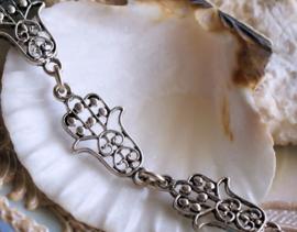 Fatima Hamsa Handje: Basis voor armband/ketting - per 18,5 cm - Antiek Zilver Kleur