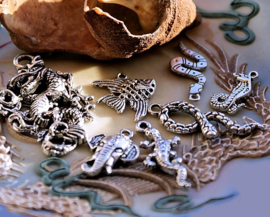 set/7 Bedels/Hangers: Dragon & Snakes + More - MIX - 18-41 mm - Antiek Zilver Kleur