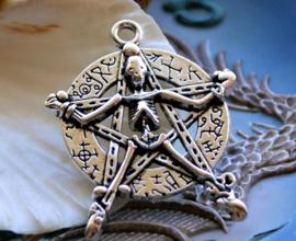 Grote Hanger: Skelet Pentagram Pentakel - 44x35 mm - Antiek Zilver Kleur