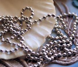Ball Chain: Basis voor armband/ketting - per 1 meter - 2 mm balletjes - Antiek Zilver Kleur