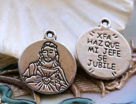 1 Dubbelzijdige Bedel: Jezus + tekst - 21x18 mm - Antiek Zilver Kleur