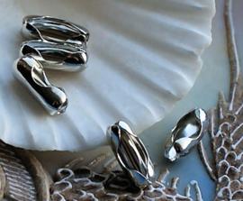 Ball Chain: 1 Slotje  voor 4 mm balletjes ketting - Antiek Zilver Kleur