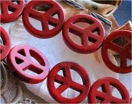 set/2 kralen: Echt Howliet - PEACE - 20 mm - Koraal-Rood kleur