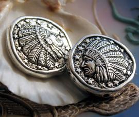 Grote Kraal: Native American/Indiaan - 30 mm - Metal Look Antiek Zilver Kleur