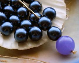 set/10 Kralen: Parel Glas - Rond - 8 mm -  Donker Staal-Blauw