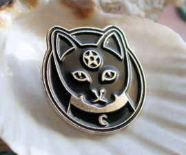 Witch Pin Brooche: Cat with Pentagram & Moon - 25 mm - Black Silver