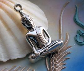 Grote Hanger: Boeddha - 35x23 mm - Antiek Zilver Kleur