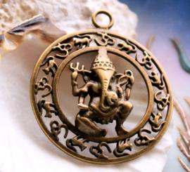Hanger: Olifant-God GANESH Ganesha - 44x38 mm - Antiek Koper/Brons kleur