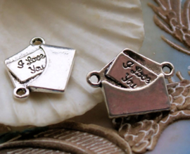 set/2 Connectors/Charms: Love Letter - I Love You - 21 mm - Silver Tone