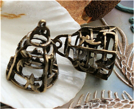 1 Hanger: 3-D Vogelkooitje - 26 mm - Antiek Koper/Brons