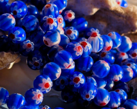 set/10 Millefiori Kralen - Glas - Rond 8 mm - Blauw Rood Wit