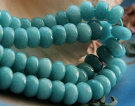 set/5 kralen: Echt Candy Jade - Facet Disc - 8x5 mm - Vergrijsd Hemels-Blauw