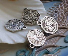 set/2 Bedels: Yin Yang Tai Chi - 16x13 mm - Antiek Zilver Kleur Metaal