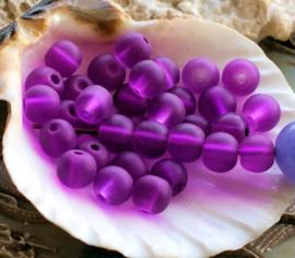 set/30 Kralen: Spacer Glas - Rond - 6 mm - FROST Fuchsia Violet