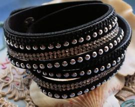 Dubbele 4-rij Armband - Imitatie Leer - Verstelbaar - Zwart Zilver Strass