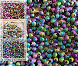 set/50 Kralen: Metal Look STARDUST - Rond - 4 mm - Multi Metallic Bright of Pauw of Pastel