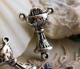 set/2 Rozenkrans Ornament - Tussenstukje Verdeler - 23 mm - Kerk Beker - Avondmaalsbeker - Antiek Zilver kleur