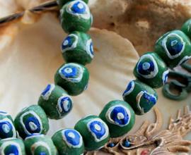 set/4 Krobo TRADE BEADS - Handelskralen uit Ghana - Glas - ca 11 mm - Groen Kobalt-Blauw Wit