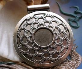 Mooie Grote Tibetaanse Hanger - 50x45 mm - Antiek Zilver Kleur