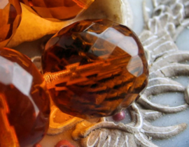 1 Grote Kraal: CZECH GLASS - Facet - 16 mm - Amber