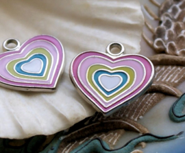 1 Enamel Charm: Heart - 18x18 mm - Pink Rainbow