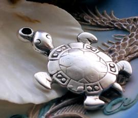 Hanger: Grote Schildpad - 48x32 mm - Antiek Zilver Kleur