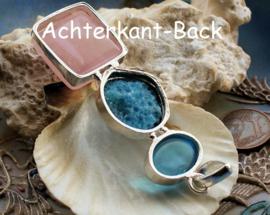 Mooie Hanger: Agaat Geode Druzy + Rozenkwarts - Verzilverd - 72 mm