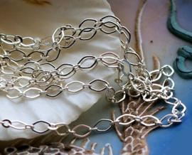 Prachtige Design Ketting - per 50 cm - Chain - 5x3 mm schakel - Zilver Kleur