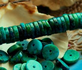 set/10 kralen: Prachtig Echt CHRYSOCOLLA - Heishi -  10x2 mm - Groen Turquoise Blauw