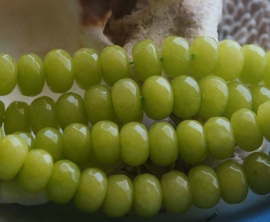 set/5 kralen: Echt Candy Jade - Facet Disc - 8x5 mm - Peridoot Groen